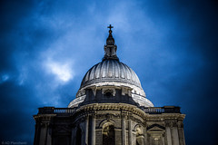 As Paul broods (Through_Urizen) Tags: architecture category england external london places stpaulscathedral canon70d canon1585mm canon outdoor outside travelphotography nighttime evening dark darkclouds city streetphotography lights uk unitedkingdom greatbritain landmark church cathedral dome domedroof sky clouds building architecturephotography