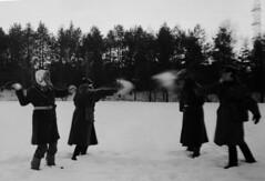 Snowball ready to go (Sonofsono) Tags: film finland soviet gp5 gas mask snow winter black bw white speedgraphic graflex postapocalyptic apocalyptic apocalypse trench coat