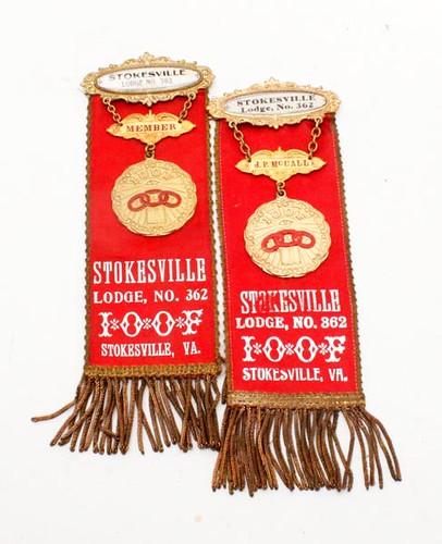 Stokesville I.O.O.F. lodge badges ($100.80)