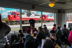Lunch Time at Brandi's (Kyle Yunker) Tags: gnrr georgia northeastern railroad gp382 emd train restaurant brandis world famous hotdogs marietta people