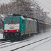 Freight train in snowstorm