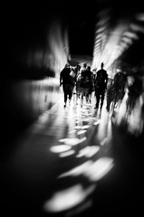 DSC_9821 (http://georgepramaggioulis.wixsite.com/aperture) Tags: blackandwhite people street urban indoor inside lowlight beams vertigo corridor