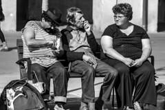 Three on a bench in Nice, France 19/4 2010. (photoola) Tags: street nice garibaldi bänk sv monochrome blackandwhite photoola bench
