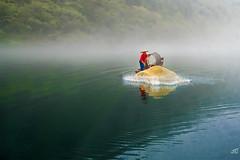 Fishing on Dongjiang (jgaosb) Tags: jaygao dongjiang 东江湖 finshing net casting evening foggy fog mist river bank reflection fishing boat red yellow water