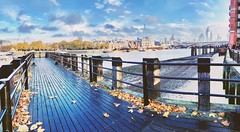 London Thames (heathernewman) Tags: panorama urban autumnalcolours morning sky blue leaf leaves landscape skyline water river autumn iphone iphonephoto thames riverthames cityoflondon city london architecture