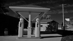 Old Station (Tim @ Photovisions) Tags: monochrome fuji gas fujifilm xt1 blackandwhite station nebraska gaspumps building