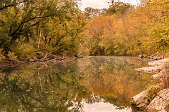Beginning to Color (Back Road Photography (Kevin W. Jerrell)) Tags: autumn leecountyva nikond7200 sigmalens powellriver water streams rivers reflections backroadphotography
