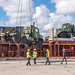 Offloaded at the Tinian wharf for use by the Seabees during recovery efforts following Typhoon Yutu