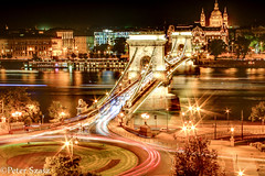 Chain bridge (Peter Szasz) Tags: hungary magyarország budapest building architecture night light travel trail transport lamps old art canon capitol river water evening october duna danube lit traffic colourful hdr outside outdoors long longexposure city cityscape busy urban street bridge lánchíd széchenyi chain chainbridge