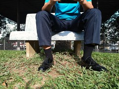 Relaxing in the park (polmas2010) Tags: black shoes socks oxford captoes dress executive suit