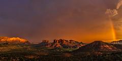 Monsoon Sunset (Guy Schmickle) Tags: arizona cathedralrock coconinonationalforest courthousebutte sedona rainbow storm sunriseorsunset