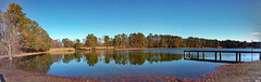 Back Pond At Luther Britt Park. (dccradio) Tags: lumberton nc northcarolina robesoncounty lutherbrittpark park citypark outdoor outdoors outside sky bluesky tree trees water bodyofwater pond lake landscape scenic beauty pretty beautiful natural nature grass lawn greenery browngrass yard ground waves ripples december saturday morning saturdaymorning goodmorning weekend winter panorama pano panoramic samsung galaxy smj727v j7v cellphone cellphonepicture reflection waterreflection leaves flooding flooded flood floodwaters pondreflection dock fishermensdock pier shore