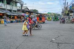 Market (Beegee49) Tags: street market mother child crossing filipina traffic jeepney happyplanet sony a6000 skylum bacolod city philippines asia