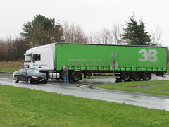 Car Vs Truck.... (Andrew 2.8i) Tags: kingdom united streetspotting cars car street spotting spotted carspotting uk wales 320 3series bmw xf daf 95 lorry truck roadhaulage accident crash incident rta rtc collision traffic road