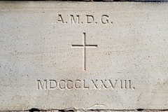 """The 1878 Foundation Stone. The stone is located outside the northern lower entrance and is inscribed """"A.M.D.G."""" and dated MDCCCLXXVIII. A.M.D.G. is an abbreviation for the Latin """"Ad Majorem Dei Gloriam"""", which translates as """"For the greater glory of God"""". (Love in a little black diary) Tags: brisbane anglicanchurch standrewsanglicanchurchsouthbrisbane southbrisbane historicbuilding heritagebuilding building queensland queenslandheritageregister"""