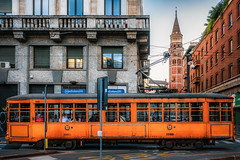 'Historic' tram (Мaistora) Tags: tramway tram streetcar transport public electric historic antique retro vintage restored museum curiosity replica authentic preserved operational workhorse orange vivid vibrant bright eyecatching history tradition attraction tourist tourism city urban famous rail railway heavy metal iron wood design milan milano lombardy italy street sony ilce alpha a6000 zeiss sonar t 24mm f18 sel24f18za lightroom luminar skylum