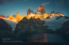 Burning peaks (hoangcuongnokia8800) Tags: 500px snowcapped mountain peak range alpenglow ridge glacier mer de glace valley patagonia fitz roy