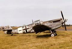 G-BOML Hispano HA-1112 M1L Buchon cn 151 Old Flying Machine RAF Wattisham 24Jun89 (kerrydavidtaylor) Tags: eguw bf109 me109