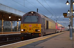 DB Schenker Belmond Pullman liveried 67021 rolls through Ely, with the diverted 14.32 Kings Cross to Edinburgh LNER service. 13 01 2019 (pnb511) Tags: train rail rails loco locos locomotives overhead catenary station platform lights lner diverts 225 class91 class67 ely westangliamainline