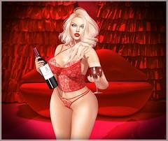 Drink You Away (Lexi★Morgan) Tags: leximorgan stellar lelutka ro reveobscura amala magika maitreya osmia swallow glamaffair aviglam secondlife wine avatar lingerie lace epiphany red