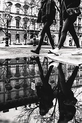 01/30 2018/02 (halagabor) Tags: bnw blackandwhite monochrome street streetphoto streetphotography urban city citylife budapest hungary puddle reflection mirror walk walking nikon d610 nikkor manualfocus vintagelens