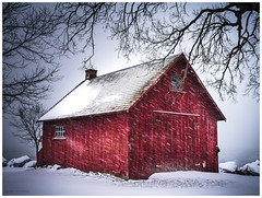 Winter (3) (hoedh) Tags: pentax 645z 55mm winter snow red white cabin cold medium format