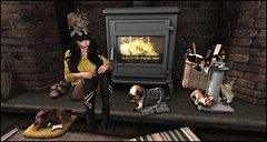 With My Animals (Fraisecassis) Tags: jian pure poison girl animal animals dog cat kitty fireplace sl second life