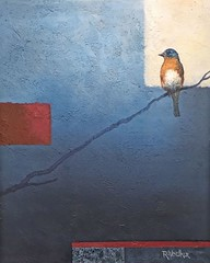 Feeling Blue (Rvoelk) Tags: russ voelker birds bluebirds contemporary oil painting nature wildlife