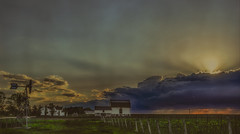 The Loud Blank of the Cloud Bank (Paul B0udreau) Tags: canada ontario paulboudreauphotography niagara d5100 nikon nikond5100 texture layer photoshop nikkor1855mm toronto lakeontario rural escarpment farm vineyards car skyline explore