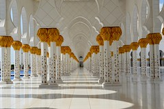 Sheikh Zayed Grand Mosque (Seventh Heaven Photography *) Tags: abu dhabi uae united arab emirates sheik zayed grand mosque nikon d3200 reflections columns arches white marble floor