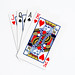 Stack of playing cards on white background