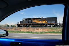 Chasing the 5371 (jamesbelmont) Tags: riogrande drgw emd sd40t2 tunnelmotor dirttrain ljp45 price wellington utah train locomotive railway unionpacific