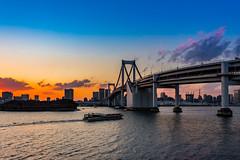 The Rainbow Bridge in the evening (Masa_N) Tags: water waterfront bridge springtime twilight boat earlyspring tokyotower japan evening tokyo rainbowbridge 港区 東京都 日本 jp sea bay