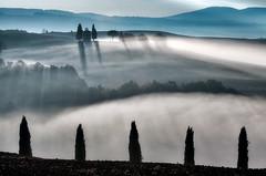 Misty morning in Tuscany (Explore!) (www.Royz.nl) Tags: italy morning sunrise mist misty tuscany capella vitaletachapel silhauetteandsunrise vitaleta chapel madonna