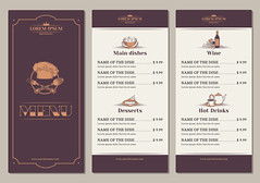 Template for the restaurant menu (rafsanjani1786) Tags: food menu vector brochure vintage restaurant design template cooking cafe illustration flyer banner retro bar beverage drinks background poster drink lunch dinner card advertising paper old label meal snack element realistic infographic breakfast party cook cover creative drawing graphic idea invite beer meat grill alcohol wine dessert