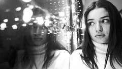 christmas mood (frax[be]) Tags: atmosphere moody fuji 16mm girl lights reflection indoor poetry grain bokeh noiretblanc monochrome portrait blackandwhite bnw bw