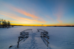 Dawn (Arttu Uusitalo) Tags: sunrise morning clear sky dawn blue yellow winter southern ostrobothnia seinäjoki lake lakescape lakeshore icy pier snow finland canon eos 5d mkiv samyang 14mm wideangle