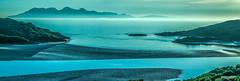 "Rhapsody in blue – a ""Rum"" Float in panorama. (Scotland by NJC.) Tags: sunset nightfall dusk sundown gloaming twilight غُرُوبُ الشَّمْس ""pôr do sol"" 日落 ""zalazak sunca"" ""západ slunce"" solnedgang zonsondergang crepúsculo auringonlasku ""coucher de soleil"" sonnenuntergang ηλιοβασίλεμα tramonto ""zachód słońca"" island isle islet archipelago atoll key جَزِيرَةٌ ilha 岛屿 otok ostrov ø eiland isla saari île insel νησί isola river stream waterway tributary brook canal watercourse creek beck burn نَهْر rio 河流 rijeka řeka flod rivier joki fleuve fluss fiume 강 흐르는 물 isleofrum morarbay westcoastofscotland scotland"