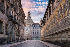 Streets of Dresden (Michael Abid) Tags: dresden frauenkirche church germany saxony oldcity cathedral architecture building dome tower city historic history famous landmark evening