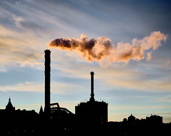 Smoke from a heating plant's chimney in morning light (Thomas Barregren) Tags: morning light