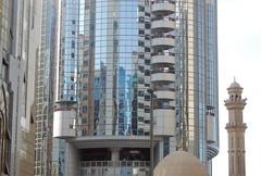 Modern Islam (mikecogh) Tags: abudhabi modern islam mosque minaret contrast glass reflection urban religion culture