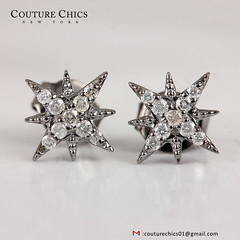 Genuine Pave Diamond Starburst Stud Earrings Solid 18k Black Rhodium Gold Ear Studs Fine Jewelry (couturechics.facebook1) Tags: genuine pave diamond starburst stud earrings solid 18k black rhodium gold ear studs fine jewelry