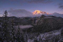 Rainier Above The Clouds [EXPLORED #3] (Travis Rhoads) Tags: 2018 sonyalphaa9ilce9 sony1635f28gm reallyrightstuff bh55 rrspcl01 tvc33 clouds fog landscapephotography goldenhour mountains nationalpark nikcollectionbygoogle sunset textures thegoldenhour copyright2018 travisrhoadsphotography snow weather washington mtrainiernationalpark mountrainier