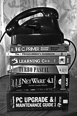 Books and Telephone (roanfourie) Tags: flickrlounge weeklytheme oldstuff nikon d3400 nikkor afp 1855mm vr dx raw gimp december 2018 telephone books book blackandwhite bnw bw lowlight