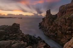 natural diving board (Francois Le Rumeur) Tags: sunset brittany france finistère primel ocean rock rocher long exposure seascape littorale pointe diving dive 4k hd 1635 nikon sly ciel cloud nuage
