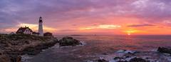 Portland Head Light Sunrise Panorama (Mike Ver Sprill - Milky Way Mike) Tags: portland head light lighthouse maine sunrise sun panorama pano beautiful east coast dawn rocks rocky coastline colorful clouds seascape landscape nature fort williams cape elizabeth