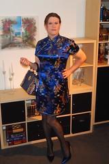Blue Qipao (Rikky_Satin) Tags: silk satin qipao cheongsam dress pantyhose nylons pvc highheels pumps handbag crossdresser tgirl tgurl gurl feminization