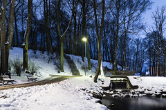 Winter in park (Jevgenijs Slihto) Tags: nikon d5600 kitlens 1855 latvija latvia rīga riga europe park arkādijasparks arkadijasparks torņakalns tornakalns pārdaugava pardaugava parks winter snow night evening waterfall udenskritums ūdenskritums ziema bridge path trees