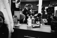 at the barber's (ekonon) Tags: pushedonestop monochrome olympusxa2 1 blackandwhite film filmphotography