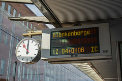 Analog clock with digital information panel (phuong.sg@gmail.com) Tags: alarm antique architecture background black business cancel city clock concept day delay dial face hour image late metal minute modern number object old photo picture public railway retro ride round schedule sign simple station stock time timer timetable train transportation travel trip vintage wall watch white